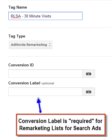 RLSA Tags in Google Tag Manager
